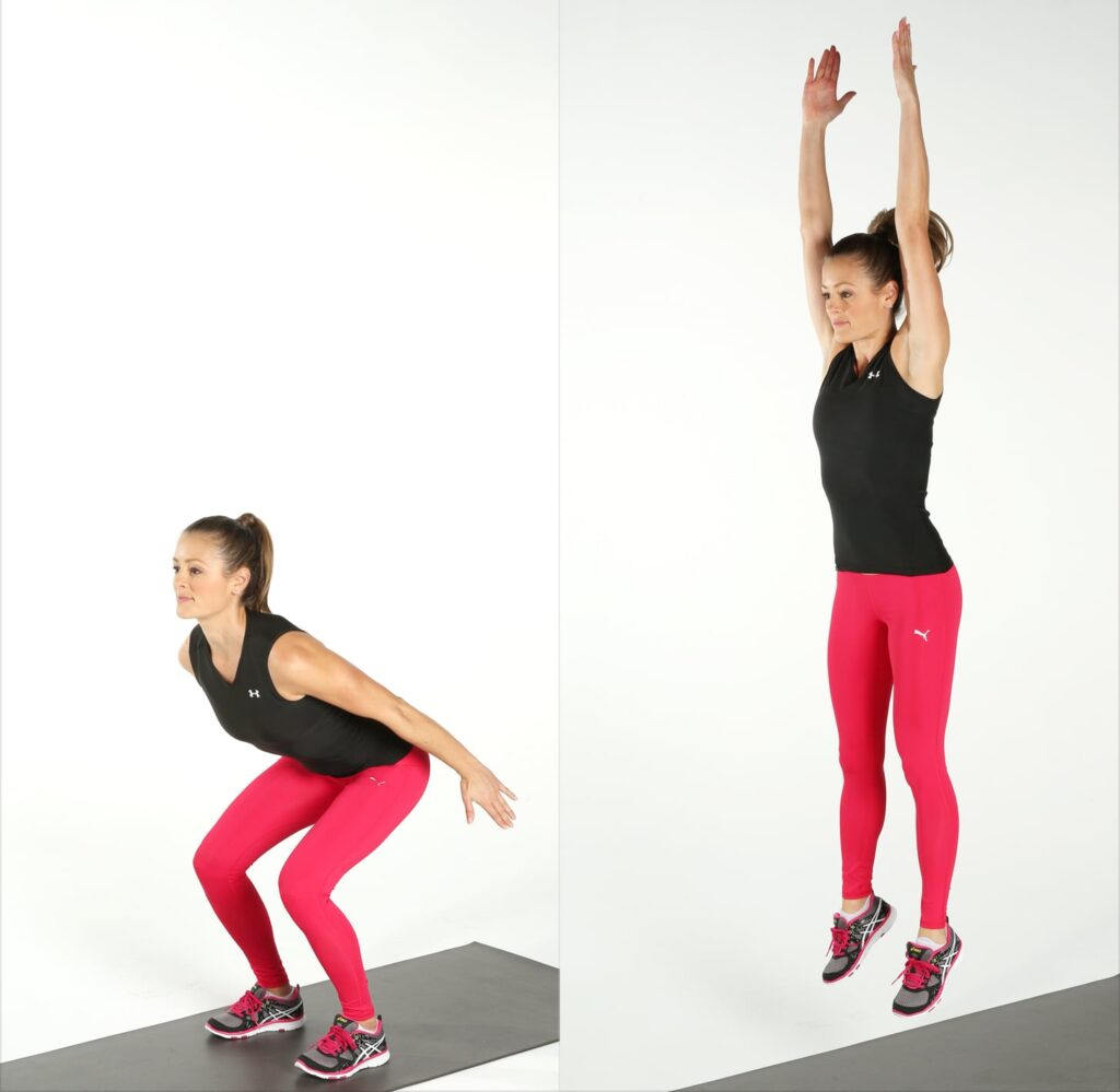 Squat jumps cardio workout at home